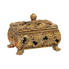Buy Sterling Industries Textured Leaf Keepsake Storage Box in Antique Gold on sale online