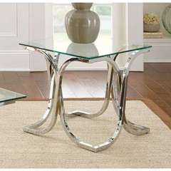 Buy Steve Silver 24x24 Square Leonardo End Table w/ Glass Top in Chrome on sale online