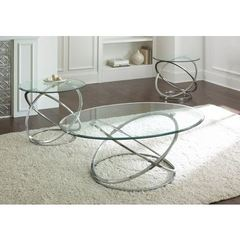 Buy Steve Silver 3 Piece Orion Occasional Table Set in Chrome on sale online