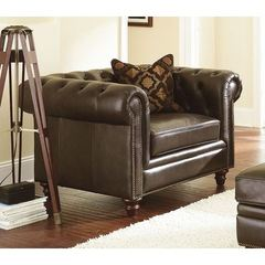 Buy Steve Silver 33 Inch Tusconny Chair w/ Accent Pillow in Brown Leather on sale online
