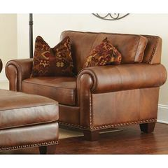 Buy Steve Silver 37 Inch Silverado Chair w/ 2 Accent Pillows in Brown Leather on sale online