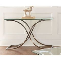 Buy Steve Silver 48x18 Rectangular Leonardo Sofa Table w/ Glass Top on sale online