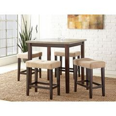 Buy Steve Silver 5 Piece Aberdeen 36x36 Counter Height Set in Brown and Grey on sale online