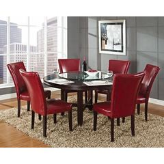 Buy Steve Silver 7 Piece 62x62 Round Hartford Dining Room Set in Oak on sale online