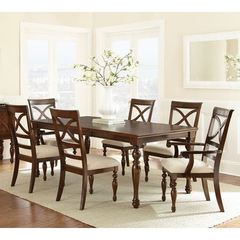 Buy Steve Silver 7 Piece 78x42 Rectangular Caroline Dining Room Set in Cherry on sale online