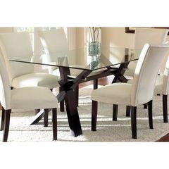 Buy Steve Silver 72x42 Rectangular Berkley Dining Table w/ Glass Top in Espresso on sale online