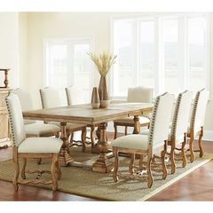 Buy Steve Silver 9 Piece 96x44 Rectangular Plymouth Dining Room Set in Oak on sale online
