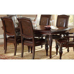 Buy Steve Silver Antoinette 66x42 Leg Dining Table w/ 18 Inch Leaf on sale online