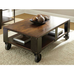 Buy Steve Silver Barrett 52x32 Cocktail Table w/ Wood Top and Shelf on sale online