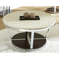 Buy Steve Silver Bosco 36x36 Round Faux Marble Cocktail Table w/ Casters on sale online