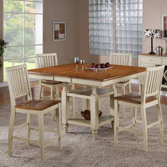 Buy Steve Silver Candice 5 Piece 54x42 Counter Height Set in Oak and White on sale online