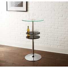Buy Steve Silver Crystal Contemporary 24x24 Round Bar Table in Black on sale online