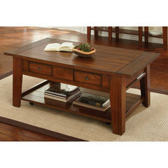 Buy Steve Silver Desoto 50x32 Cocktail Table in Oak w/ Caster on sale online