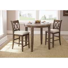Buy Steve Silver Franco 3 Piece 40x40 Round Counter Height Set w/ Marble Top on sale online