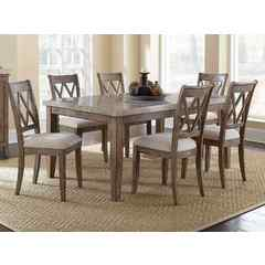 Buy Steve Silver Franco 7 Piece 70x42 Rectangular Dining Room Set w/ Marble Top on sale online