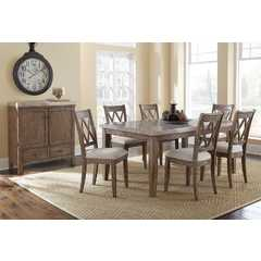 Buy Steve Silver Franco 8 Piece 70x42 Rectangular Dining Room Set w/ Marble Top on sale online