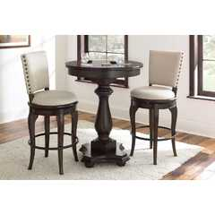 Buy Steve Silver Leona 3 Piece 33 Inch Round Bar Table Set in Deep Charcoal on sale online