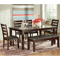 Buy Steve Silver Sao Paulo 6 Piece 66x42 Dining Table Set w/ Bench in Espresso on sale online