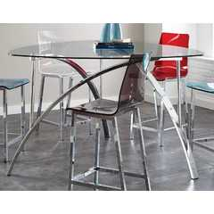 Buy Steve Silver Sicily 60x60 Triangle Counter Height Table in Chrome on sale online