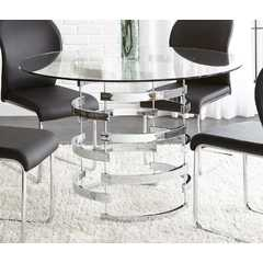 Buy Steve Silver Tayside 45x45 Round Dining Table w/ Tempered Glass on sale online