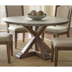 Buy Steve Silver Wayland 54x54 Round Dining Table w/ Zinc Metal Top on sale online