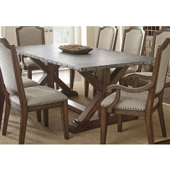 Buy Steve Silver Wayland 88x42 Rectangular Dining Table w/ Zinc Metal Top on sale online