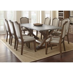 Buy Steve Silver Wayland 9 Piece 88x42 Rectangular Dining Set w/ Zinc Metal Top on sale online