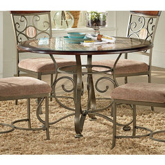 Buy Steve Silver Thompson 45x45 Round Dining Table w/ Faux Marble Inlay on sale online