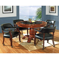 Buy Steve Silver Tournament 5 Piece 50 Inch Round Game Table Set in Black on sale online