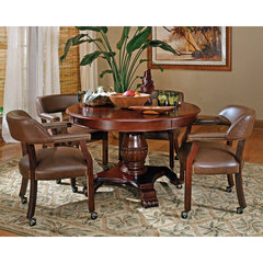 Buy Steve Silver Tournament 5 Piece 50 Inch Round Game Table Set in Brown on sale online