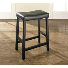 Buy Crosley Furniture Upholstered Saddle Seat 24 Inch Barstool in Black on sale online