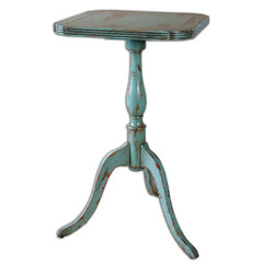 Buy Uttermost Valent Blue 15 Inch Round Accent Table on sale online