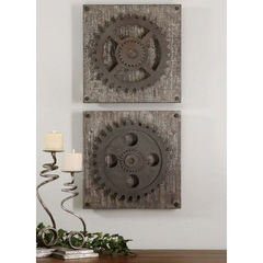 Buy Uttermost 17 Inch Square Rustic Gears Wall Art (set of 2) on sale online