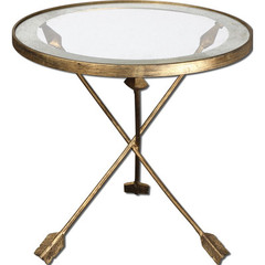 Buy Uttermost Aero 20 Inch Round Accent Table w/ Glass Top on sale online