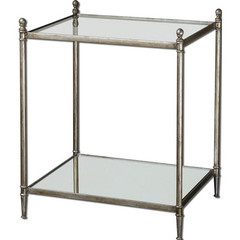 Buy Uttermost Gannon 23x19 Rectangular End Table w/ Mirrored Glass on sale online