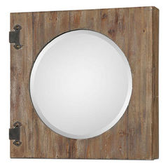 Buy Uttermost 24 Inch Round Gualdo Mirror Cabinet in Aged Wood on sale online
