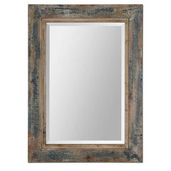 Buy Uttermost 38x28 Rectangular Bozeman Distressed Mirror in Blue on sale online