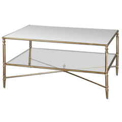 Buy Uttermost Henzler 38x28 Rectangular Coffee Table w/ Mirrored Glass on sale online