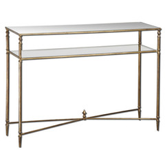 Buy Uttermost Henzler 45x14 Rectangular Console Table w/ Mirrored Glass on sale online