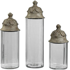 Buy Uttermost Acorn Glass Cylinder Canisters (set of 3) on sale online