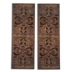 Buy Uttermost Alexia Panels 41x15 Wall Art in Rust Brown (Set of 2) on sale online