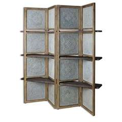 Buy Uttermost Anakaren Screen With Shelves in Blue, Brown on sale online