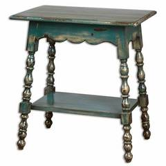 Buy Uttermost Andrey 28x18 Rectangular Country Teal Accent Table on sale online