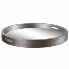Buy Uttermost Bechet Round Mirrored Tray in Antique Silver on sale online