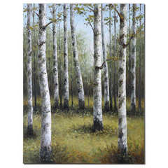 Buy Uttermost Birches In Spring 48x36 Rectangular Hand Painted Art on sale online