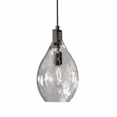 Buy Uttermost Campester 1 Light Watered Glass Mini Pendant in Black on sale online