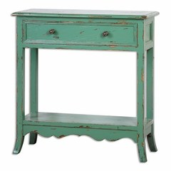 Buy Uttermost Celso 32x12 Rectangular Country Sea-Green Accent Table on sale online