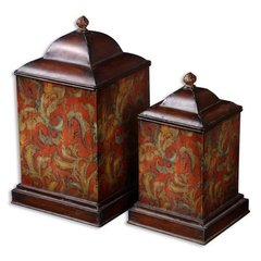 Buy Uttermost Colorful Flowers Canisters (Set of 2) on sale online