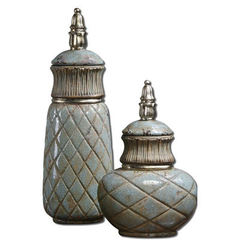Buy Uttermost Deniz Ceramic Containers in Sea Foam (set of 2) on sale online