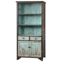 Buy Uttermost Dunixi Distressed Bookcase in Antique Blue, Black on sale online